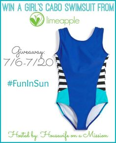 Housewife on a Mission: Girl's Swimwear from Limeapple   Giveaway! #FunInSun