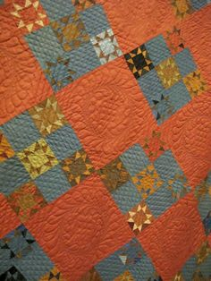 I so love Orange and Blue quilts. Twinkle Stars, dated Dena Miller. Amische Quilts, Fall Quilts, Star Quilts, Circle Quilts, Sampler Quilts, Hexagon Quilt, Mini Quilts, Quilts Vintage, Antique Quilts