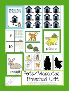 Pets/Mascotas Preschool Unit product from Bilingual-Resources on TeachersNotebook.com