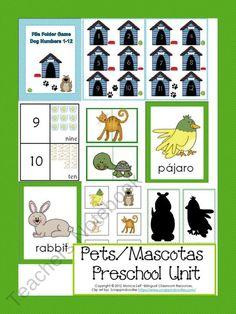 Pets/Mascotas Preschool Unit product from Bilingual-Resources on TeachersNotebook.com