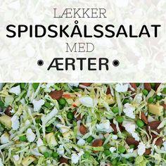 Fantastisk salat fyldt med saft og kraft fra fintsnittet spidskål. grønne ærter og knasende mandler.