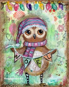 Owl WHimsiCAL Christmas Holiday Print 8 x 10 by pinkglitterfae ($15)