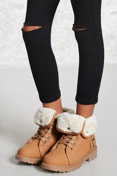 Forever 21 Girls - A pair of faux leather ankle boots featuring a fleece foldover design with snap-button details, a lace-up closure, round toe, and a low lug heel.<p>- This is an independent brand and not a Forever 21 branded item.</p> Cute Girl Outfits, Outfits For Teens, Trendy Outfits, Little Girl Fashion, Teen Fashion, Fashion Trends, Kids Clothing Brands List, Teen Clothing, Forever 21 Girls