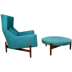 Jens Risom Lounge Chair And Ottoman   Model U312