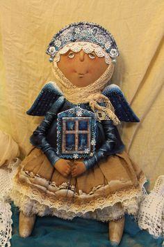 Купить Рождественский Ангел - комбинированный, текстильная кукла, ароматизированная кукла, интерьерная кукла, Новый Год