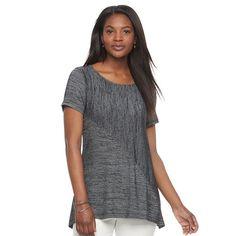 Women's Croft & Barrow® Asymmetrical Handkerchief Tee, Size: Large, Black