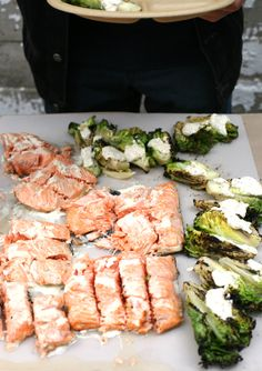 grilled little gem lettuces with creamy dressing, grilled king salmon with yuzo kosho crème fraiche