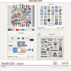 Digital scrapbooking Seaside Calls Full Collection - Collaboration by ninigoesdigi and Anita Designs at Oscraps. Perfect for all you seaside memories, at the beach or at sea. Uppercase alphabet, 6 color variations + 1 signal flags uppercase - also included 2 bonus freebies