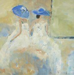 Blauwe hoedjes, schilderij van Loes Loe-sei Beks   Abstract   Modern   Kunst