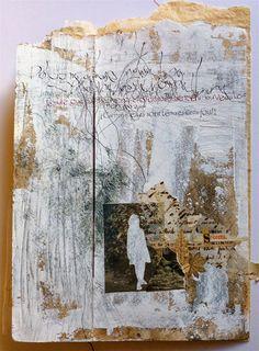 D'après un texte d'Henri Michaux Livre unique, collage, peinture et calligraphie