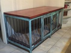 Dog crate that also is a fancy piece of modern industrial furniture. is the marketplace for custom made items built to your exact specifications by talented makers. Get bids for free, no obligation! Dog Kennel End Table, Diy Dog Kennel, Diy Dog Bed, Kennel Ideas, Dog Kennels, Dog Beds, Diy Dog Crate, Large Dog Crate, Large Dogs