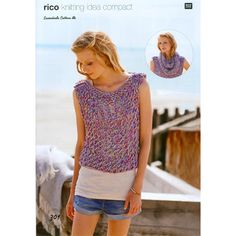 Lacy Top and Snood in Rico Design Essentials Cotton DK Hand Knitting Yarn, Double Knitting, Baby Knitting, Flower Design Images, Lacy Tops, Rico Design, Knit Or Crochet, Knit Patterns, Tricks