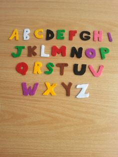 colorful felt alphabet magnets by 6street on Etsy, $13.00