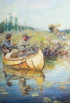 Hunters in Canoe Spotting Moose by Phillip Goodwin