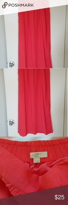 """Set of 2 coral and black maxi skirts S/P Set of 2 coral and black maxi skirts S/P. Both are by Ann Taylor Loft.  The first is a coral long maxi skirt made of polyester, has slide slits on both sides and has inner lining. Waist 28"""" and stretches to 30"""" as it has an elastic waist stretch band.  Length = 37"""".  The black Ann Taylor maxi skirt is 100% cotton, size XS but fits like a Small, very soft fabric, stretch waistline.  Waist = 28"""", stretches to 30"""". Length = 38.25"""". Gently used condition…"""