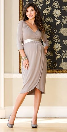 Tulip Maternity Dress (Pale Grey) by Tiffany Rose  $185