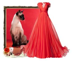 """""""Regal Red - Siamese Cat"""" by love-n-laughter ❤ liked on Polyvore featuring Zuhair Murad, Casetify, Coach, Oscar de la Renta and LE VIAN"""