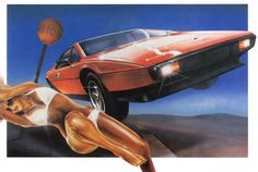 by Philip Castle Airbrush Designs, Airbrush Art, Fallen London, Retro Images, Sci Fi Art, Graphic Design Typography, Cool Drawings, Retro Vintage, Lotus Esprit