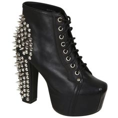 Jeffrey Campbell Women's Lita Spike Shoes - Black ($135) ❤ liked on Polyvore featuring shoes, boots, ankle booties, black, lace up platform booties, black platform booties, lace up boots, black lace up booties and platform boots