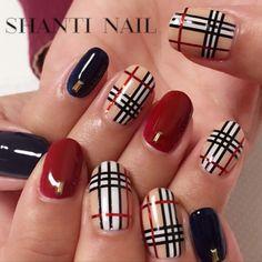 Pin on Nail Designs バーバリーネイル Plaid Nail Art, Plaid Nails, Toe Designs, Gel Nail Designs, Gucci Nails, Fall Gel Nails, Maroon Nails, Elegant Nails, Beautiful Nail Designs