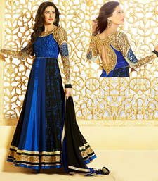 Blue and Black embroidered Georgette semi stitched salwar with dupatta shop online