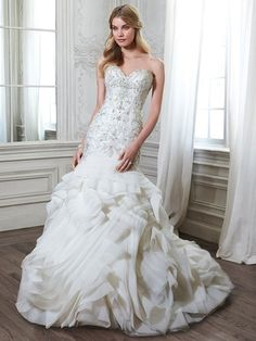 Sweetheart A-Line Wedding Dress  with Dropped Waist in Organza. Bridal Gown Style Number:33054701