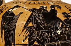 Old Anchises exchanges a glance with his former lover Aphrodite as Aeneas carries him from burning Troy. From the Getty Villa Museum. http://www.getty.edu/art/collection/objects/11740/attributed-to-leagros-group-attic-black-figure-neck-amphora-greek-attic-about-510-bc/?dz=0.4596,0.6237,1.82