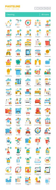 Are you ready to clean things up? So are we! Introducing the 85 Cleaning Icon Set. These vector icons include everything you need to keep things sparkling clean and provide cleaning tips to the world! Available in multiple formats. 100% Customizable - style to your brands' needs. Visit flat-icons for more inspiring icon packs, freebies, and more! #flaticons #vectoricons #icons #cleaningicons #corona #cleaningtips #disinfect #covid19 #washyourhands #cleaningmaterials Flat Design Icons, Flat Icons, Icon Design, Cleaning Icons, Cleaning Hacks, Sparkling Clean, Cleaning Materials, Icon Pack, Icon Font