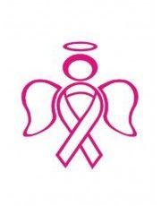 "FB Small Pink Ribbon Stickers | RIBBON ANGEL CANCER AWARENESS STICKER 5"" High PINK VINYL STICKER ..."