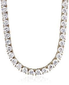 "Plated Sterling Silver 5mm Swarovski Zirconia Tennis Necklace, 17"" - CHECK IT OUT @ http://www.finejewelry4u.com/jew/101365/150720"