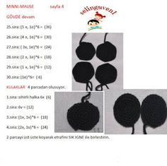 MİNNİ MAUSE TARİFİ Crochet Stitches, Crochet Patterns, Crochet Horse, Crochet Disney, Mini, Free Crochet, Elsa, Crochet Mickey Mouse, Knitting And Crocheting