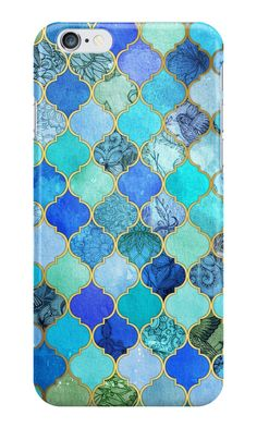 """""""Cobalt Blue, Aqua & Gold Decorative Moroccan Tile Pattern"""" iPhone Cases by micklyn 