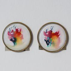 Boucles d'oreilles aquarelle clips à cabochon par oliviaquarelle
