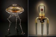 Rik Allen makes awesome spaceships and robots from scrap metal and blown glass.