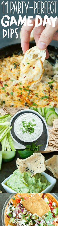 11 Party-Perfect Game Day Dips: quick and easy dip recipes, perfect for your next party! Tasty vegetarian, vegan, and gluten-free options available.