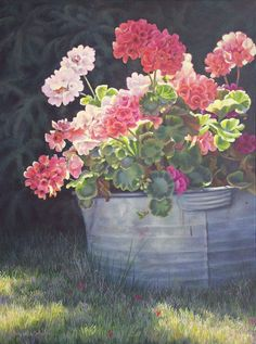 zinc tub full of geraniums...