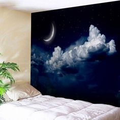 Moonnight Print Home Decor Wall Tapestry - Night Blue Inch * Inch Removable Natural Cheap Wall Tapestries, Tapestry Wall Hanging, Blanket On Wall, Tapestry Online, Boys Bedroom Decor, Cool Walls, Home Decor Wall Art, Cheap Home Decor, Wall Prints