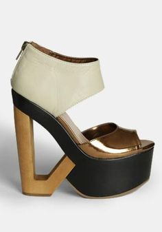 at Threadsence // wooden cutout heeled shoe