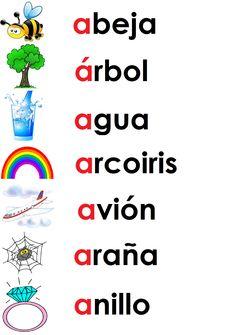 vocabulario letra Aa palabras con dibujos relación método global preescolar