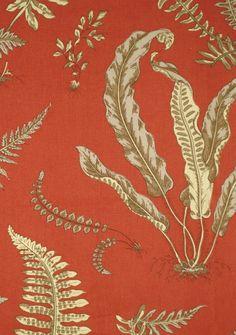 Elsie de Wolfe - Scalamandre - orange fabric with cream and tan fern print