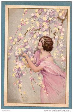 Adolpho BUSI. Jolie femme dans des branches de fleurs