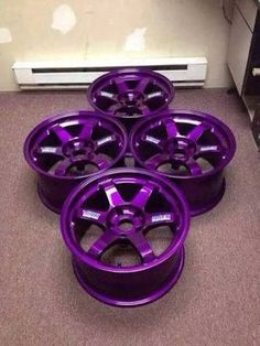 Purple rims would make my car the perfect colors (I need some of these on my purple car! Purple Love, All Things Purple, Shades Of Purple, Purple Stuff, Purple Cars, Pink Rims, Rims For Cars, Rims And Tires, Car Rims