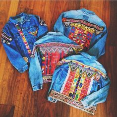 Embroidered denim jacket  I want to make one so bad! These are beautiful! And I bedd a jacket for Hawaii nights!