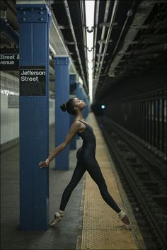 "ballerinaproject: ""Nardia - Bushwick, Brooklyn Follow the Ballerina Project on Facebook, Instagram, YouTube, Twitter & Pinterest For information on purchasing Ballerina Project limited edition prints. Catsuit by @blackmilkclothing Black Milk..."