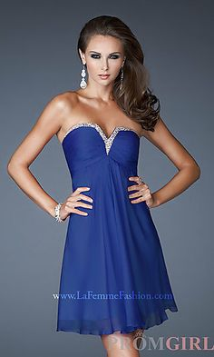 Short Strapless Chiffon Dress at PromGirl.com