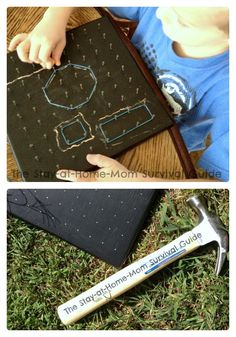 Make a Chalkboard Geoboard for Some Kids Math Fun at B-Inspired Mama