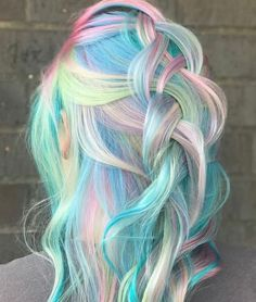 Unicorn Hair Dye Unicorn Hair Color Ideas Bright Blue Base With Rainbow Higbase Cute Hair Colors, Pretty Hair Color, Beautiful Hair Color, Hair Dye Colors, Hair Color Blue, Purple Hair, Bright Colored Hair, Pastel Hair Colors, Fire Hair Color