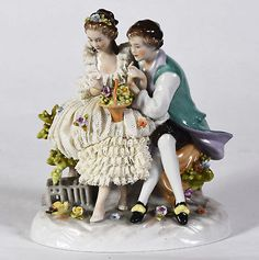 Pre-War Dresden Porcelain Lace Figurine - Courting Couple Lovers marked GERMANY