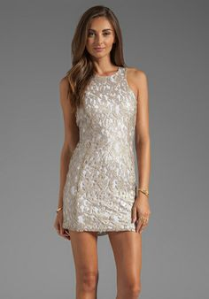 NOOKIE Lovelace Racer Front Dress in Champagne