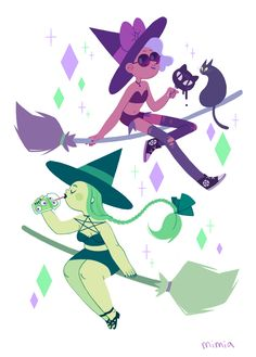 Summer witches! I imagine they hang out on their brooms over the 7/11 and talk…